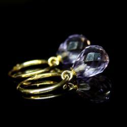 złoto,ametyst,kolczyki,krople,koła - Kolczyki - Biżuteria
