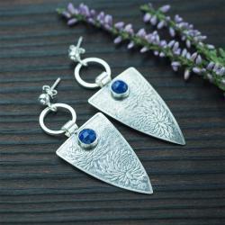 trójkąty,elegancki,kwiaty,lapis - Kolczyki - Biżuteria