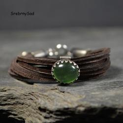 bransoleta z rzemieni,bransoleta z zielonym kamie - Bransoletki - Biżuteria