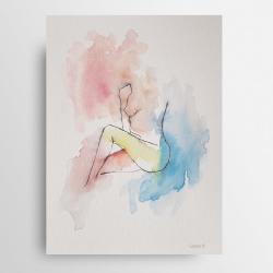 minimalizm,akt,akwarela,tusz - Obrazy - Wyposażenie wnętrz