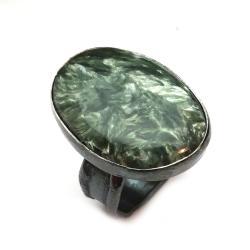 seranit,srebrny,blask,szary,zima,zieleń,leśny - Pierścionki - Biżuteria
