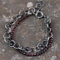 bransoleta ze srebra i granatów - Bransoletki - Biżuteria