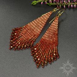 z frędzlami,czerwone,jesień,lekkie,indiańskie,etno - Kolczyki - Biżuteria