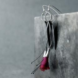 bordowe kolczyki kwiatki oksydowane - Kolczyki - Biżuteria