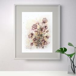 akwarela,tusz,rysunek,kwiaty,malarstwo,sztuka - Obrazy - Wyposażenie wnętrz