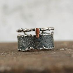 srebrno złota obrączka - Pierścionki - Biżuteria
