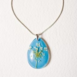 Błękitny naszyjnik z żywicy,srebro 925 - Naszyjniki - Biżuteria