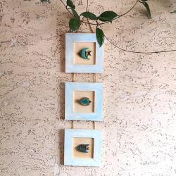 drewno,ryby,rybka,ceramika,ramka,obrazek - Ceramika i szkło - Wyposażenie wnętrz