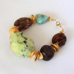 masywna bransoleta z bursztynem i turkusem - Bransoletki - Biżuteria