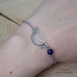 bransoletka,księżyc,półksiężyc,lapis lazuli - Bransoletki - Biżuteria