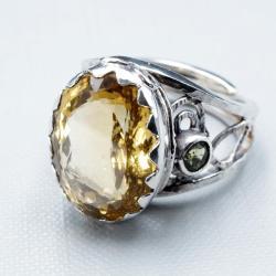 srebrny pierścionek z cytrynem ognistym - Pierścionki - Biżuteria
