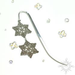 zakładka,na prezent,śnieżynka,srebrna,ażurowa, - Zakładki do książek - Akcesoria