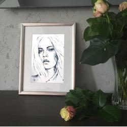 akwarela,papier,lipowska,malarstwo,obraz,portret - Ilustracje, rysunki, fotografia - Wyposażenie wnętrz