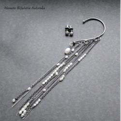 srebro,nausznica,surowe,sztyfty,oksydowane - Kolczyki - Biżuteria