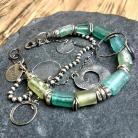 Bransoletki bransoletka,srebro oksydowane,szkło afgańskie