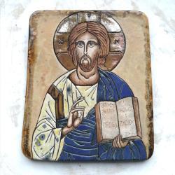 Beata Kmieć,ikona ceramiczna,Pantokrator,Jezus - Ceramika i szkło - Wyposażenie wnętrz
