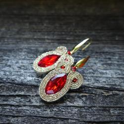 sutaszowe kolczyki,złote kolczyki - Kolczyki - Biżuteria