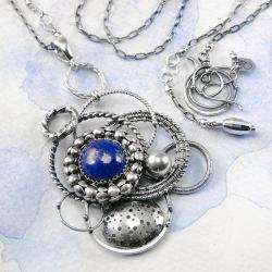 srebrny,naszyjnik,galaktyka,lapis lazuli,ciba - Naszyjniki - Biżuteria