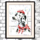 Obrazy akwarela,pies,obraz,jasny,bajkowy