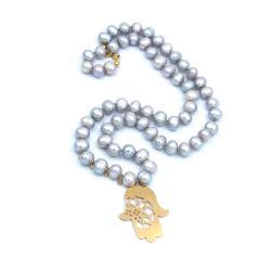 perła,naszyjnik,wisiorek,pozłacany,fatima, - Naszyjniki - Biżuteria