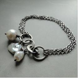 srebro,perły,białe,hodowlane,surowa,marynarska - Bransoletki - Biżuteria
