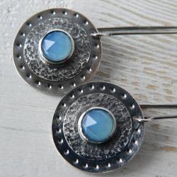 z agatem,srebro oksydowane,niebieski agat - Kolczyki - Biżuteria