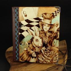 wypalanie,notatnik,szkicownik,królik - Notesy - Akcesoria