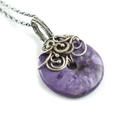 wisior,czaroit,fioletowy,wire-wrapping,donut - Wisiory - Biżuteria
