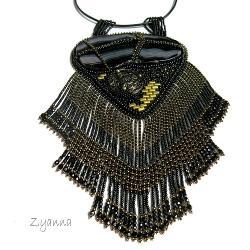 reprezentacyjny,duży,naszyjnik,czarny,złoty - Naszyjniki - Biżuteria