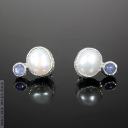 eleganckie,perły,tanzanit,sztyfty - Kolczyki - Biżuteria