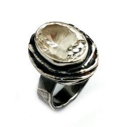 kryształ,górski,srebrny,srebro,szary,retro, - Pierścionki - Biżuteria