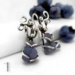 kolczyki srebrne,chalcedon,metaloplastyka - Kolczyki - Biżuteria