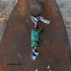 srebro i turkus,długie kolczyki,srebro - Kolczyki - Biżuteria