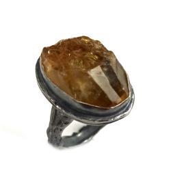 cytryn,srebrny,szary,srebro,kryształ,złoty,retro - Pierścionki - Biżuteria