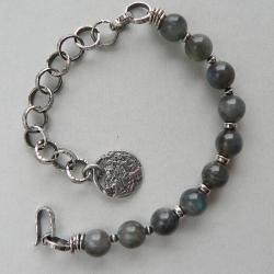 z labradorytem,boho,srebro kute - Bransoletki - Biżuteria