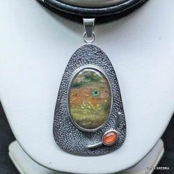 wisiorek z agatem,srebro,biżuteria,wsiory - Wisiory - Biżuteria