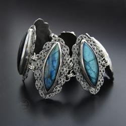 srebrna,bransoletka,z labradorytem - Bransoletki - Biżuteria