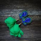 Kolczyki kolczyki z kwiatami,kobalt i zieleń,duże kolczyk