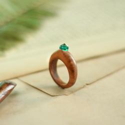 pierścionek zaręczynowy,pierścionek drewniany - Pierścionki - Biżuteria