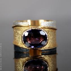 aleksandryt,pozłacany,oksydowany - Pierścionki - Biżuteria