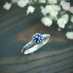 pierścionek z lapis lazuli,róże,listki,romantyczny - Pierścionki - Biżuteria