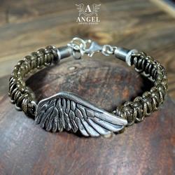 bransoleta ze skóry i srebra,biżuteria męska - Bransoletki - Biżuteria