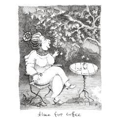 paniusia,dama,kawa,stoliczek,tusz,ilustracja - Ilustracje, rysunki, fotografia - Wyposażenie wnętrz