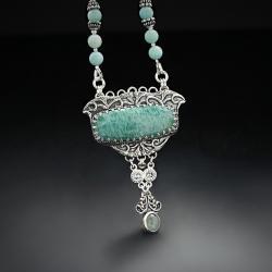 srebrny,naszyjnik,z amazonitem i akwamarynem - Naszyjniki - Biżuteria
