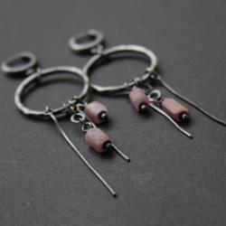srebro,rubin,oksydowane,fado,kolczyki - Kolczyki - Biżuteria