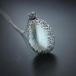 srebrny,naszyjnik,romantyczny wisior - Naszyjniki - Biżuteria