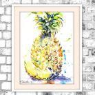 Obrazy akwarela,ananas,martwa natura,tropikalny