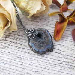 Czarny agat z druzą,delikatny naszyjnik - Naszyjniki - Biżuteria