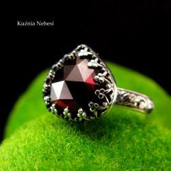 nehesi,pierścień,granatem,srebrny,bordowy - Pierścionki - Biżuteria