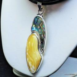 bursztyn,biżuteria,wisiory,srebro z bursztynem - Wisiory - Biżuteria